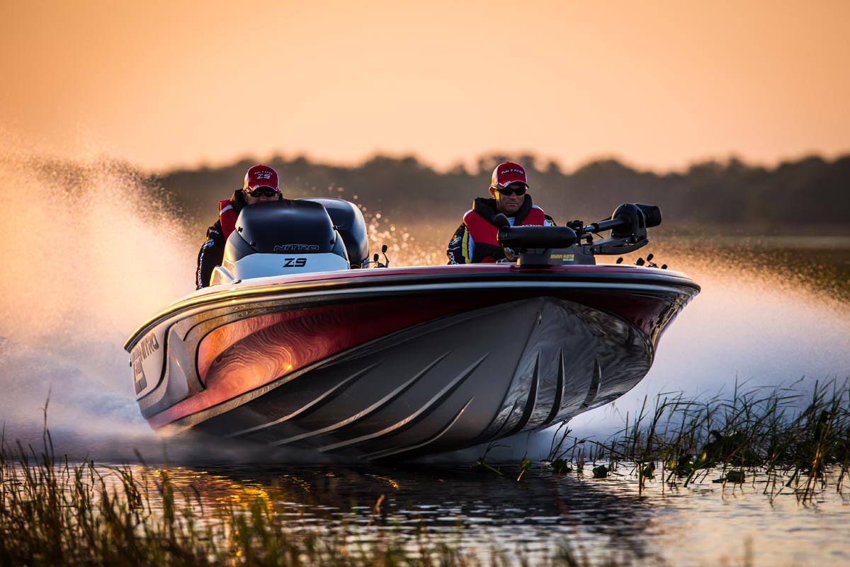 bass boat bow running photo