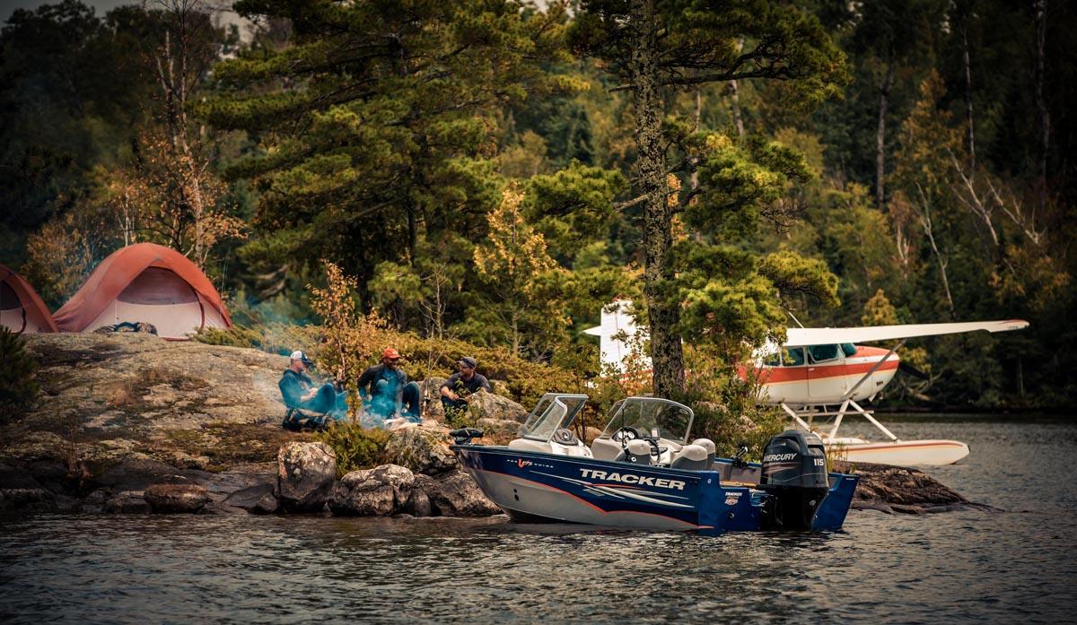 camping sea plane boat